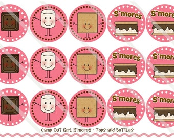 Camp Out Girl Smores 1 Inch Circles Collage Sheet for Bottle Caps, Hair Bows, Scrapbooks, Crafts, Jewelry & More