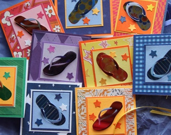 CLEARANCE Mini flip flop cards (set of 8) / Flip flop mini cards / funky gift tags