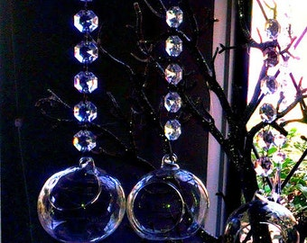 Tea light hanging bubbles set of  18 - 3.5 Inch LED tealight candle holder with 7 Inch acrylic garland.