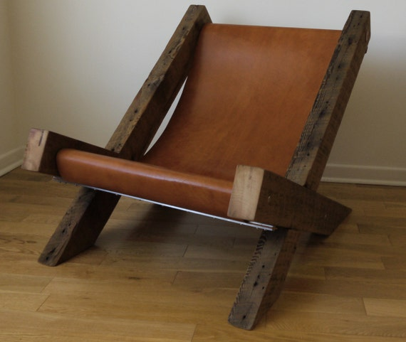 Reclaimed Wood and Leather Lounge Chair