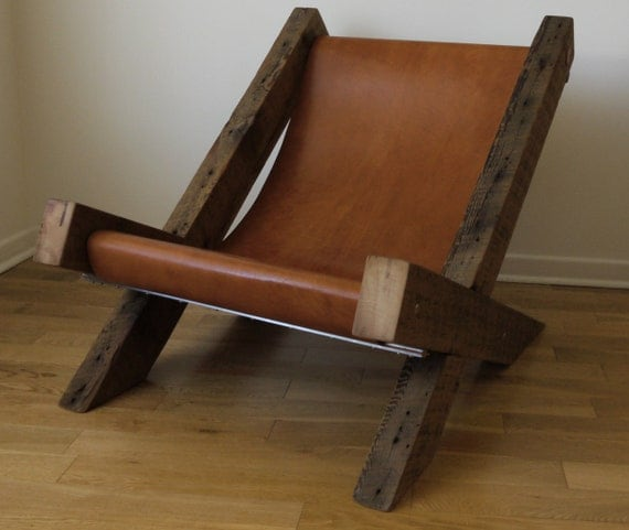 Reclaimed wood and leather lounge chair by ticinodesign on - Design plans for wood chaise lounge chair ...