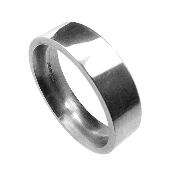 Plain Silver Wedding Ring Band Handmade In Polished Silver