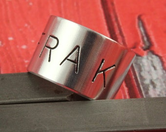 SALE - Frak Ring - Adjustable Aluminum Wide Ring - Hand Stamped Unisex Ring