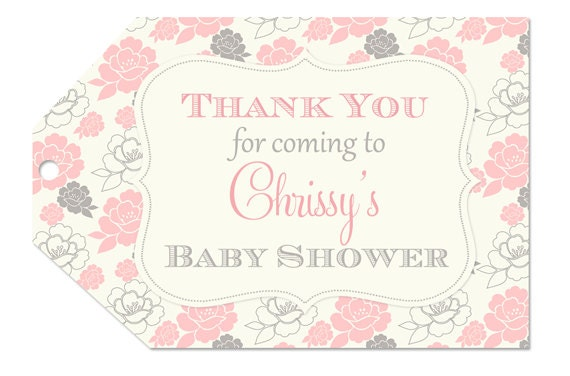 pink and grey floral baby shower favor tags by partypopinvites