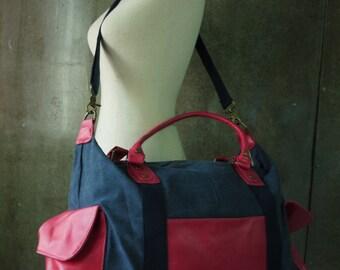 SALE - Dark Blue Denim Cotton Canvas Men Women Shoulder Bag/Crossbody Bag/Messenger Bag/All Purpose Bag/ Travel Bag - MB009