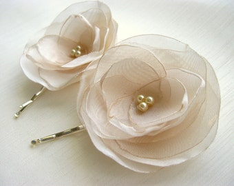 Ivory Rose Hair Clips, wedding hair accessories, bridal hair clips, ivory rose pins, flower hair clips, rose bobby pins, flowergirl