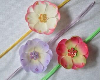 Sherry Flower on Skinny Elastic Headband