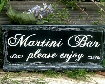 Painted Martini Bar Wedding Sign Rustic Wedding Sign Wood Wedding Sign Custom Wedding Sign