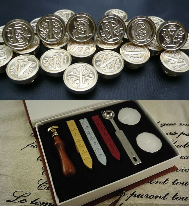 sealing wax tools kit wax seal stamp wax seals stamp a With wax letter seal kit