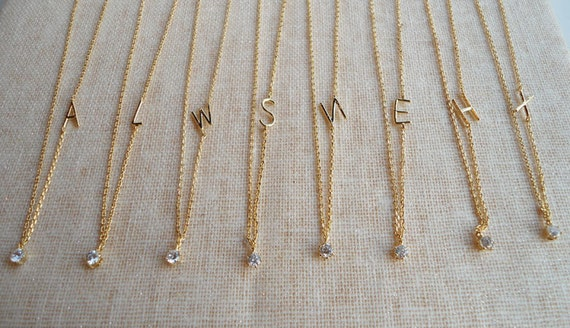 PERSONALIZED INITIAL tiny simple thin necklace - initial pendant, everyday jewelry wedding jewelry, bridesmaid gifts, bridal gifts