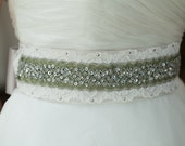 SALE!!! Sold As Is - Vintage Wedding Lace & Sequins Beaded Satin Sash with Metal Accents, Bridal Belt, Rhinestone Sash - Lin Marty Lace Belt