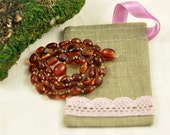 Baltic Amber Baby teething necklace dark cognac, polished, olive beads in Lovely Linen gift bag