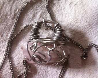 Rose Quartz Wire Wrapped Pendant with Chain