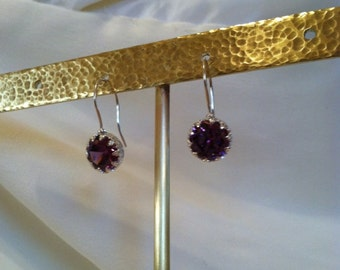 3.5 Carat Amethyst CZ Earrings - Sterling Silver