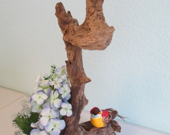 Driftwood floral centerpiece with bird and nest ooak