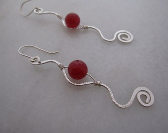 Ruby and .925 Sterling Silver Hand Formed Dangle Earring