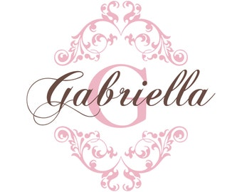 Nursery Name Decal - Shabby Chic Heart Border With Baby Name And Initial For Girl Nursery Or Girls Room - Vinyl Wall Art 22H x 22W GN045