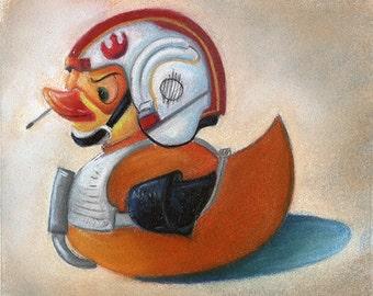 """Rubber Duckie Print, Fan Art, """"Luke Duckwalker"""""""