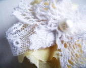 Pale Yellow Satin Fabric and White Lace Flower Brooch, Pin, Clothes, hat, Scarf, Wedding, Bridal Accessories