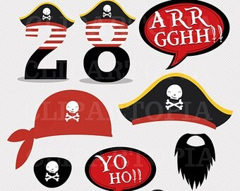DIY Pirate Party Printables / Pirate Photo Booth Props for Personal and Commercial Use