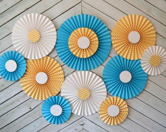 Yellow Chevron, White and Turquoise Set of 11 (ELEVEN)  paper fans/rosettes, decorations