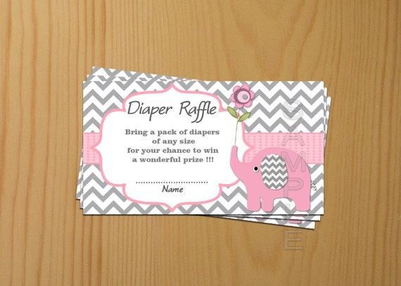 Baby Shower games Elephant Baby Shower Diaper Raffle Ticket