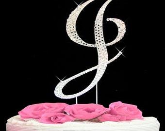Large Rhinestone Crystal Monogram Letter  J  Wedding Cake Topper 5 inches high