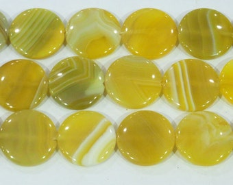 Agate Bead Natural Genuine 25mm Flat Round Banded Yellow 6382 15''L Semiprecious Gemstone Bead Wholesale Beads Supply