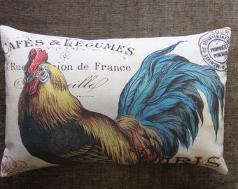 French Pillow 100% Cotton Canvas and Burlap Printed French Rooster and French Script Lumbar Barn Farm House Pillow Cover