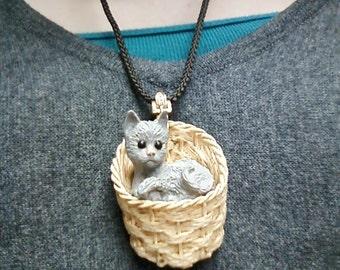Luke Razza Kitten in a Basket Necklace