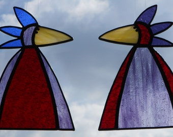 Whimsical Stained Glass Bird Suncatchers, Funky Red and Purple Birds, #324, Choice