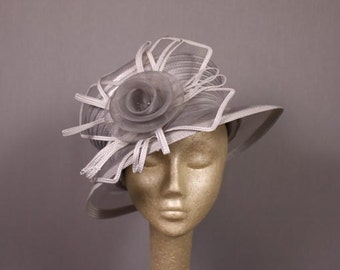Silver, gray and white Summer Wedding Hat or English Tea ...