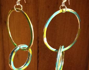 Faux Patina Interlocking Ring Earrings