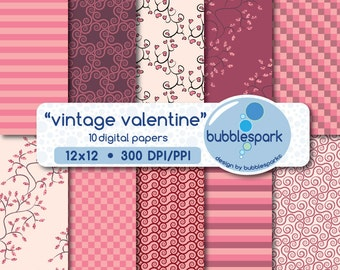 vintage valentine digital paper pack - whimsical swirls and tree branches with hearts or colored leaves.