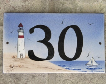 Custom Hand Painted Ceramic House Number Tile, Placque, or Sign