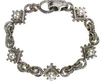 Nefeli bracelet in sterling silver 925 with pearls or garnets