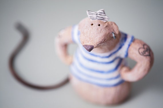 "Mouse 09 ""Cousin Peter"" Handmade Stoneware Sculpture, Ceramic Animal Figure by MURTIGA"