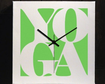 Yoga Canvas Word Art Wall Clock