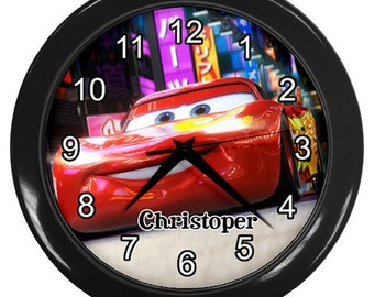Personalized Cars Mc Queen Mack Lightening Wall Clock