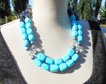 Turquoise Blue Statement Necklace, Chunky Blue Necklace