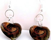 Murano earrings, lampwork earrings, dangle earrings, victorian earrings, silver earrings, heart earrings - ThriftyJane