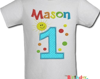 Boys Sunshine Birthday Shirt or Onesie- Any Age and color scheme (10125)