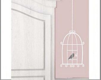 Bird Cage Wall Decal, Bird Cage Wall Stickers, Bird Cage Decor, Removable Vinyl Wall Art Decorations, Bird Decals Birds