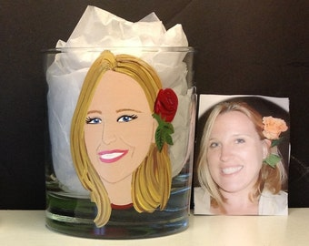 Custom Portrait Rocks Scotch Glass