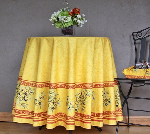 70 Inches Round Provence Tablecloth Olives Branches In Gold
