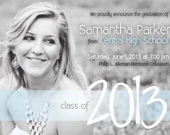 Modern Senior Graduation Invitation 2014 - black and white, photo