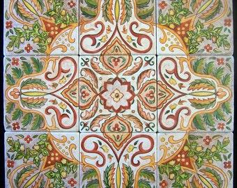 Moroccan Tiles, hand painted, mural, tumbled stone, original art design, Glenda Okiev