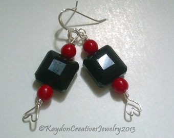 Earrings, Black Onyx and Red Round with Silver Heart Earrings