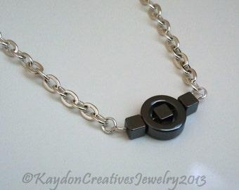 Hematite Geometric Necklace, Silver