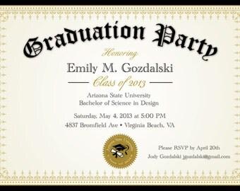 Diploma Graduation Party Invitations - Grad Announcement Digital - College and High School
